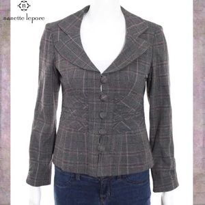 NANETTE LEPORE Gray/Purple Pinstripe Button Jacket